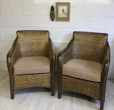 Pair of Vintage Caned Rattan Armchairs with Padded Seat Covers - 20th Century