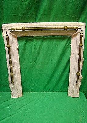 Antique Late 1800's Cast Iron Ornate Fireplace Insert Cover Frame W/ Brass Trim