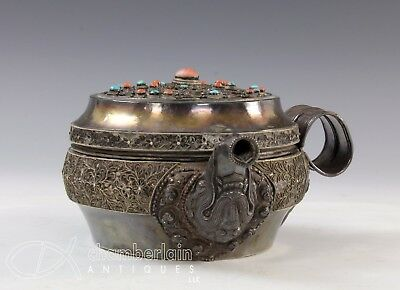 Old Tibetan Mongolian Silver Covered Pot Vessell