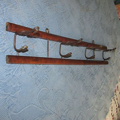 Antique Wooden Victorian Hanging Thick Iron Wire 4-Hook Folding Coat & Hat Rack