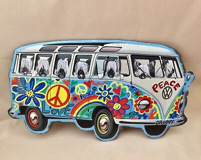 Tin sign Hippie Bus filled with hand painted Skye Terriers