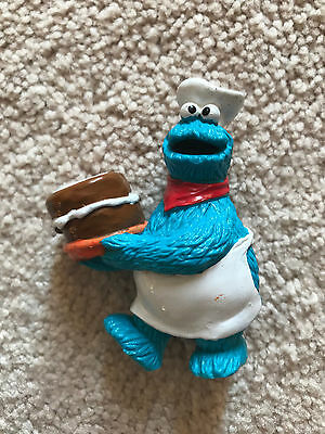 Cookie Monster The Baker Holding Chocolate Cake PVC Figure Sesame Street
