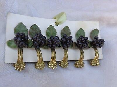VINTAGE GERMANY BRASS CAFE CURTAIN CLIP RING HARDWARE w/ BERRIES LEAVES