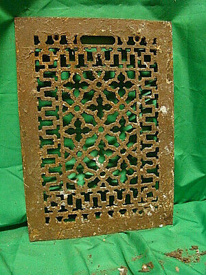 ANTIQUE LATE 1800'S CAST IRON HEATING GRATE COVER ORNATE DESIGN 13.75 x 9.75