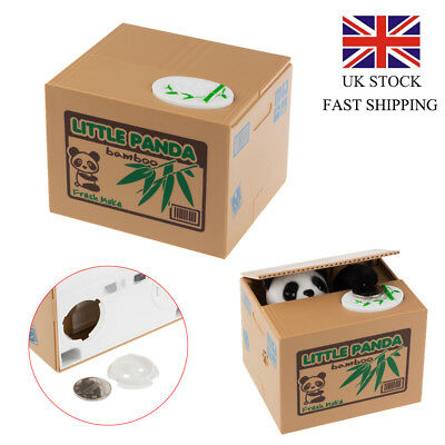 UK Cute Piggy Bank Panda Steal Money Coin Saving Box Pot Case Storage Xmas Toys