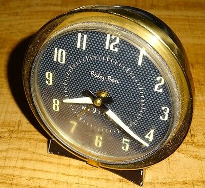 Vintage Baby Ben Westclox Mechanical Alarm Clock Brass Made in USA Working