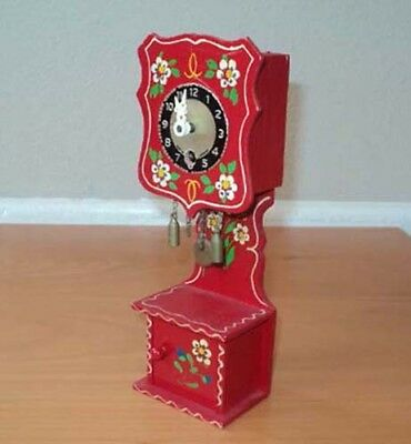 Vintage Wooden Dollhouse Miniature Grandfather Clock w/ Key Made in Germany