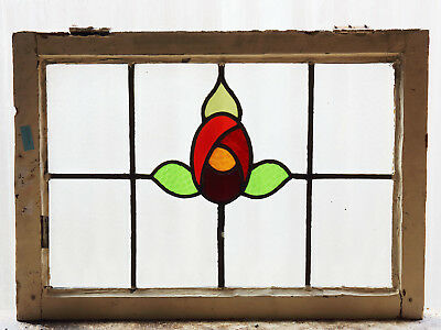 Large Antique Stained Glass Window Six (6) Colors Macintosh Rose (3057)