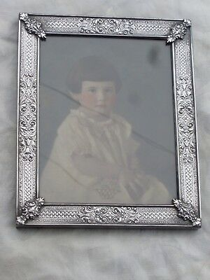 Vintage Edwardian Barbour International Silverplate Ornate Repousse Photo Frame