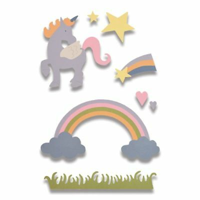 16 SIZZIX Thinlits Stanzschablone Tiere Einhorn Rainbow MAGIC UNICORN M 662096