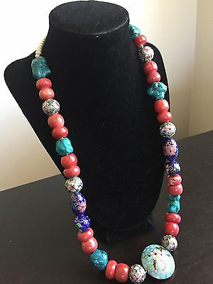 Antique Chinese Carved Red Coral Turquoise Nugget Beaded Art Cloisonné Necklace