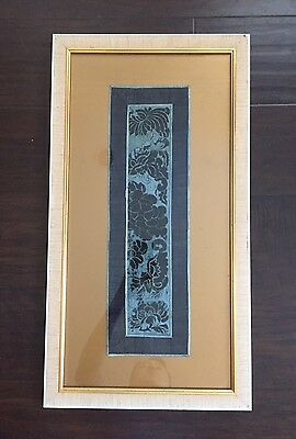 Rare Antique 19C Chinese Forbidden Stitch Silk Scholar Art Blue Black Panel #4