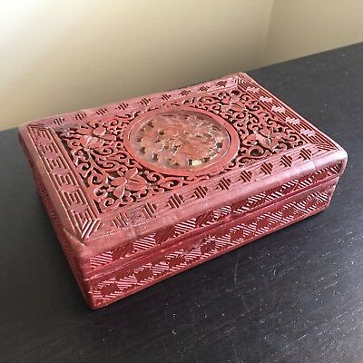 Antique Chinese Carved Red Cinnabar Lacquer Jewelry Box Scholar Art Flowers