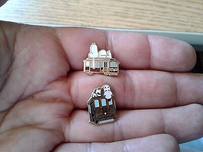 Two Vintage Aviva Snoopy San Francisco Cable Car Mini Pins