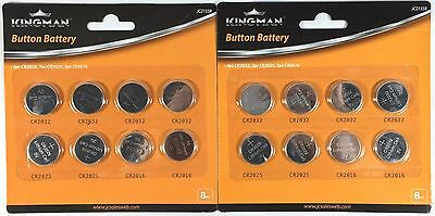 16pcs Lithium Cell Button Batteries Pack CR2032 CR2016 CR2025 Coin Battery Pack