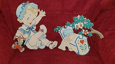 Mother Goose Rock A Bye Baby Wall Decor Vtg. 1952 Nursery Baby Infant