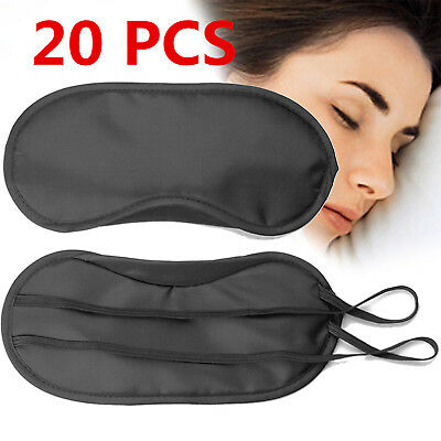 Lot Sleep Eye Mask Silk Travel Shades Blindfold Black Sleeping Cover Eyeshades