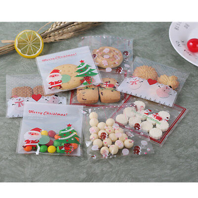 100pcs lot Plastic Fine Christmas Gifts Bake Biscuit Cookies Candy Package Bag