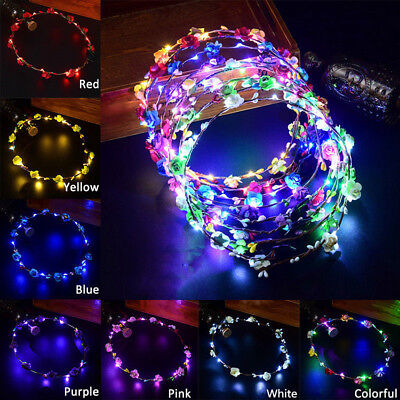Cool Bohemian Style LED Floral Flower Hair Band Headband Light-Up Wedding Party