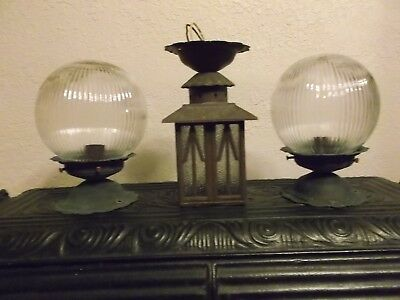 Vtg Arts Crafts aged copper 3 Porch Ceiling Old Cottage Light Fixtures