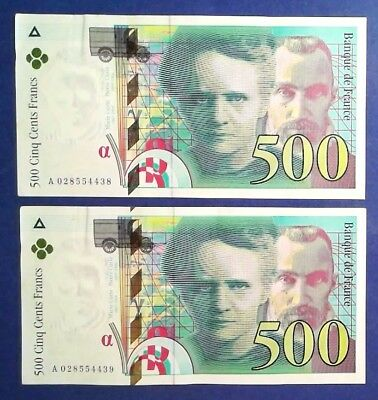 FRANCE: 2 x 500 Francs Banknotes (1994) - Extremely Fine Condition & Consecutive