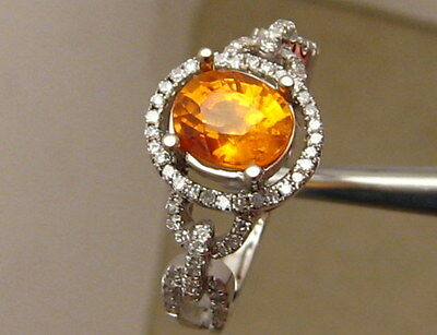 Stunning Fanta Orange 1.7ct Natural Spessartite and Diamond Ring 14k White Gold