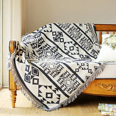 Geo Pattern Thick Cotton Throw Blanket Bed Cover Picnic Rug 130*180 /180*220cm