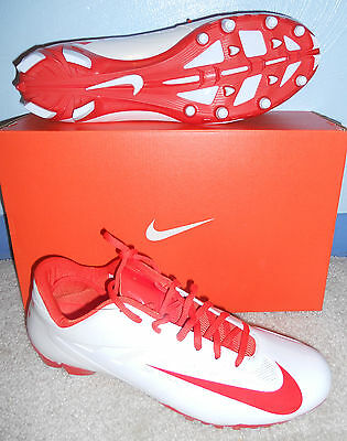 Nib Mens Nike Vapor Pro Low Lax White Orange Lacrosse Cleats Spikes 14