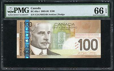 "*2003-06 Canada $100.00 ""bank Of Canada"" Awesome Note Pmg 66 Epq Please Lqqk !!!"
