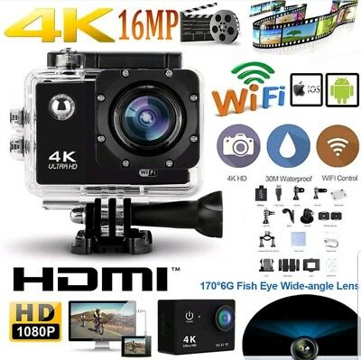 Black 4K Ultra HD Waterproof Sports Camera 16MP WiFi SJ Video Camera Action - UK