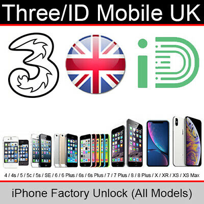 Three UK (H3G) iPhone Factory Unlocking Service (All Models up to iPhone X)