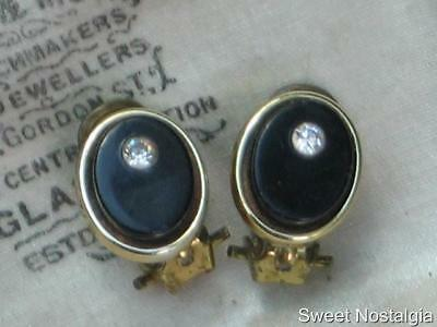 Lovely Petite Vintage 60/70's Oval Black Plastic And Diamante Set Clip Earrings