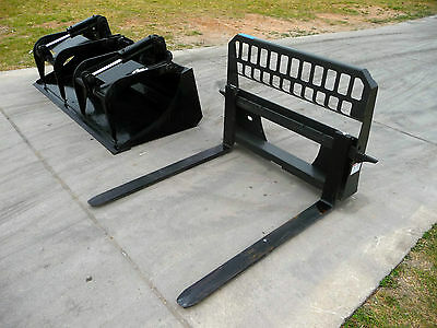 "Bobcat Skid Steer Attachment 80"" HD Bucket Grapple w 48"" Pallet Forks Ship $199"