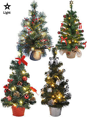 Mini Pre Lit + Decorated Christmas Tree 75cm  45cm Decoration LED Light Up Gift
