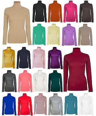 Ladies Women Long Sleeve Polo Turtle Roll Neck Plain Top 26 Colours Uk 08-26