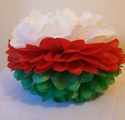 3 X Christmas Xmas Tissue Paper Pompoms Hanging Party