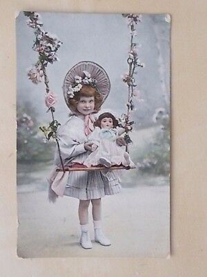 Vintage 1908 Postcard - Young Girl With Doll On Swing