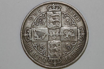 Grades Very Good 1881 Great Britain Florin Silver Coin KM #746.4 (GB149)