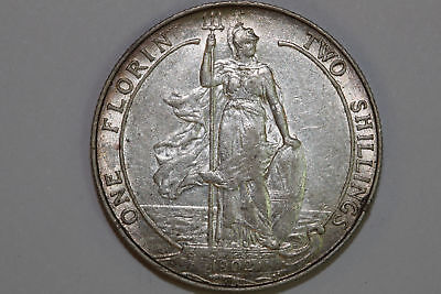 Grades About Uncirculated 1902 Great Britain Florin Silver Coin KM #801 (GB147)