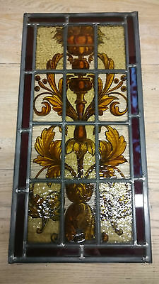 A BEAUTIFUL ANTIQUE HAND PAINTED STAINED GLASS PANEL NEW LEADWORK ref 815