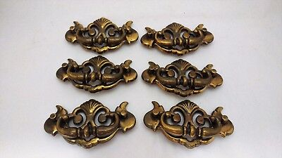 Set of SIX Brass Drawer Pulls / Handles - Vintage / Antique K 657 2 Chippendale