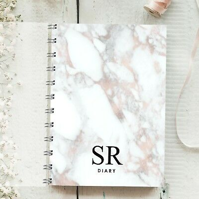 Personalised Diary Marble Initial, Rose Gold 1 Week 1 Page, Any Month Start Gift