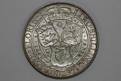 Grades About Uncirculated 1897 Great Britain Half Crown Silver Coin (GB145)