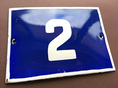 ANTIQUE VINTAGE ENAMEL SIGN PORCELAIN HOUSE NUMBER 2 BLUE DOOR GATE STREET 1950s