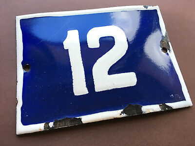 ANTIQUE VINTAGE ENAMEL SIGN HOUSE NUMBER 12 BLUE DOOR GATE STREET 1950s