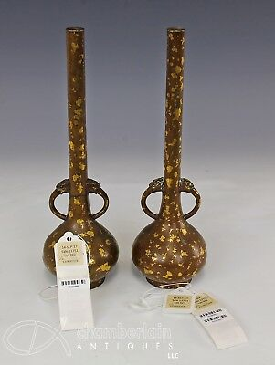 Exceptional Pair Of Antique 17/18C Chinese Gold Splashed Bronze Vases W Marks