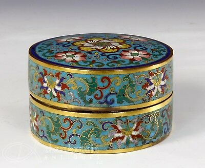 Antique 18C Chinese Cloisonne Covered Round Box - Qianlong Period