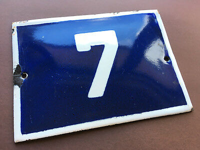ANTIQUE VINTAGE ENAMEL SIGN HOUSE NUMBER 7 BLUE DOOR GATE STREET 1950s