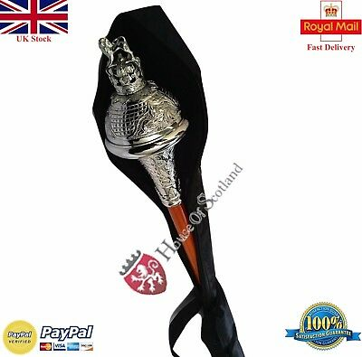 """Drum Major Mace Staff,stave 60"""" Embossed Head Silver Lion  & Free Carrying Case"""