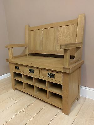 Kingsford Solid Oak Monks Bench / Hall Storage 110cm 45cm 100cm